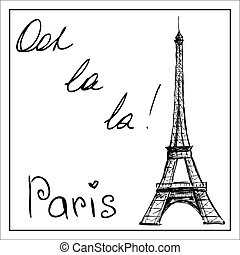 Eiffel Tower. The word Paris. On a white background. Hand...