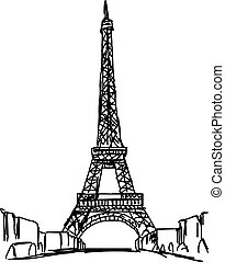 eiffel tower - vector illustration sketch hand drawn isolated on white background