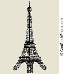 Eiffel tower. Vector sketch illustration for design use.