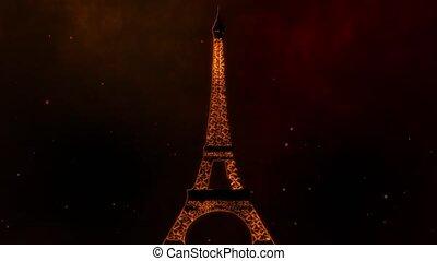 Eiffel Tower burning video animation