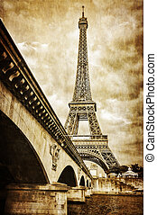Eiffel tower vintage retro view from Seine river, Paris,...
