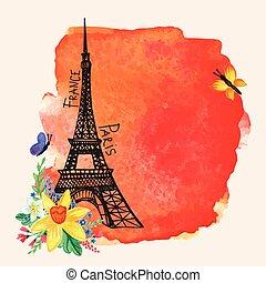 Eiffel tower, Watercolor spot, Narcissus bouquet. Paris card...