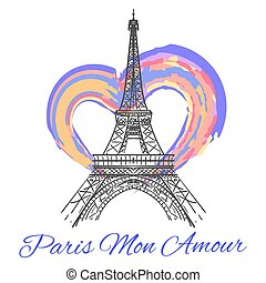 Eiffel tower with colorful bright heart