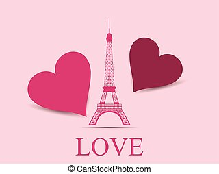 Eiffel Tower with hearts. Paris.