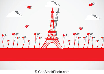 Eiffel Tower with Love Plant - easy to edit vector...
