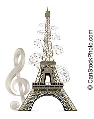 Eiffel Tower with musical notes and a treble clef