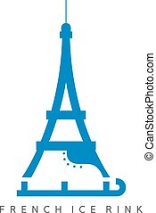 eiffel tower with skates vector design template