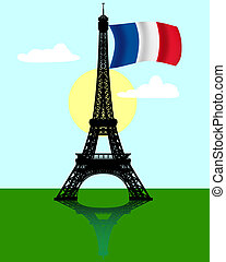Eiffel tower with the flag of France - black silhouette of...