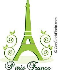 eiffel, vecteur, arrière-plan vert, paris-france, tour