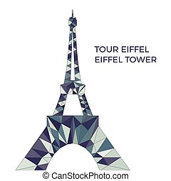 Vector Illustration Of Eiffel Tower In Low Poly Style Polygonal Image Blue Color Group For Postcards Prints Or Other Design