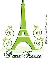 eiffel, vektor, zöld háttér, paris-france, bástya