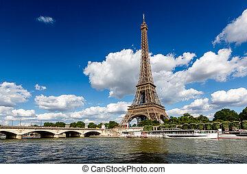 eiffel wieża, i, wonton rzeka, z, biały zasępia, w, tło,...