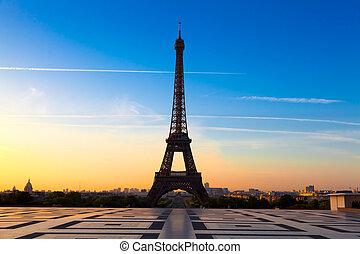 eiffel wieża, na, wschód słońca