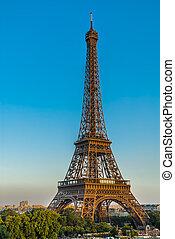 eiffel wieża, paryż, miasto, francja