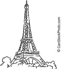 eiffel wieża, w, paryż, francja
