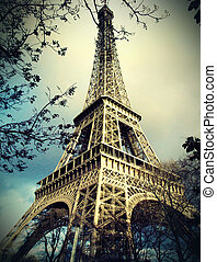 eiffel wieża, w, paryż