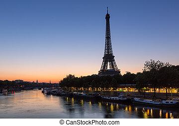 eiffel, zegen, parijs, frankrijk, toren, rivier, dageraad, ...