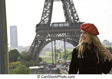 eiffle, hembra, modelo, sombrero, torre, rojo