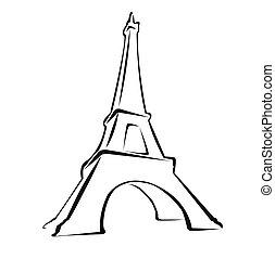 Eiffle Tower - Silhouette of Eiffle Tower