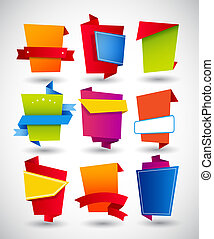 eigen, etiketten, text., papier, set, plek, origami, jouw