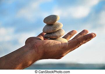 eigen, idyl, evenwicht, harmonie, handen, u