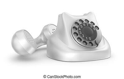 eigen, isolated., telefoon, ontwerp, retro, voorkant, overzicht., mijn