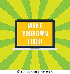 eigen, schöpfer, chances, foto, laptop-computer, luck., dein, schicksal, tablette, persönlich, machen, schreibende, text, begrifflich, schirm, sein, geschaeftswelt, ausstellung, space., hand, monitor, demonstratingal, showcasing
