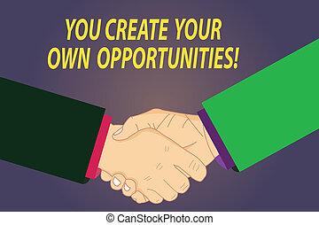 eigen, schöpfer, chances, foto, photo., zeichen, respekt, dein, schicksal, schaffen, opportunities., text, begrifflich, sie, sein, ausstellung, abkommen, hu, hände, gruß, analyse, schüttelnd, gebärde