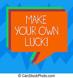 eigen, schöpfer, chances, foto, zeichen, leer, luck., dein, verschieden, schicksal, machen, farbe, vortrag halten , text, begrifflich, blase, sein, bunte, ausstellung, stapel, balloon., angehäuft, demonstratingal