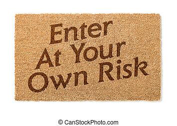 eigen, verantwoordelijkheid, welkom, binnengaan, witte , jouw, mat