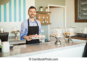 eigenaar, bakkerij, zakelijk, vrolijke