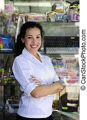 eigenaar, kleinhandelswinkel, portait