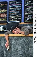eigenaar, koffiehuis, beklemtoond buiten