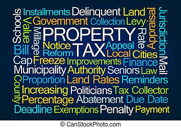 eigendom, belasting, woord, wolk