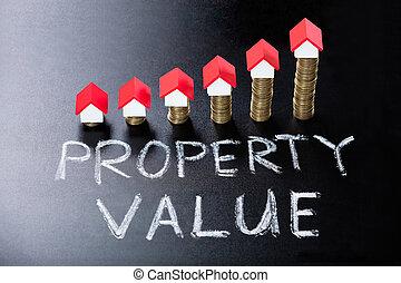 eigendom, bord, concept, waarde