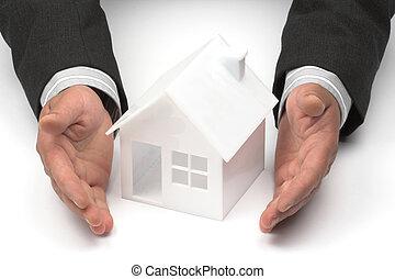 eigendom, concept, of, echte, verzekering