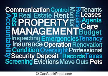 eigendom, management, woord, wolk