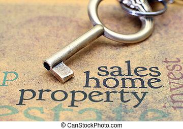 eigendom, thuis, concept, omzet