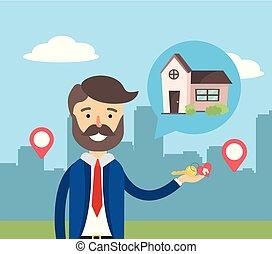 eigendom, woning, zakenman, verkoop, plaats