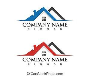 eigenschaft, und, baugewerbe, logo