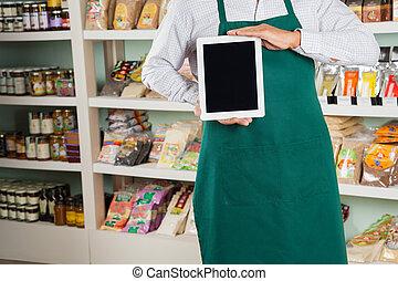 eigentümer, ausstellung, digital tablette, in, kaufmannsladen