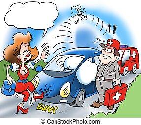 eigentümer, auto, unterstützung, rufen, straßenrand