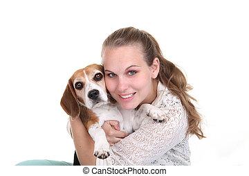 Eigentümer, Haustier,  beage, Umarmen, hund