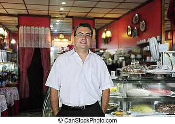 eigentümer, von, a, klein, business/, kuchen, store/, café