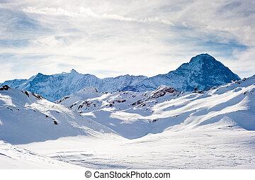Eiger above Grindelwald - Eiger (3970m) mountain in winter,...