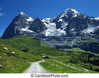 eiger, e, monch, montagne, in, svizzera, alpi