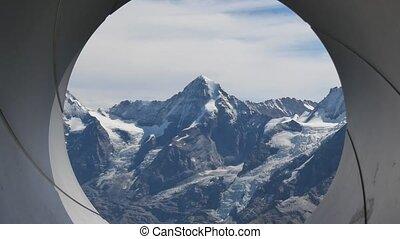 Spiral gun barrel effect with north face of Eiger snow capped, seen from Schilthorn summit 2970 meters. Murren, Canton of Bern in Switzerland. Oberland Bernese, Jungfrau Region.