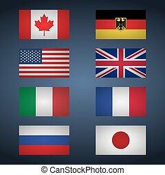 eight., 旗, 英国, 日本, フランス, イタリア, カナダ, ロシア, セット, 偉人, ドイツ, アメリカ