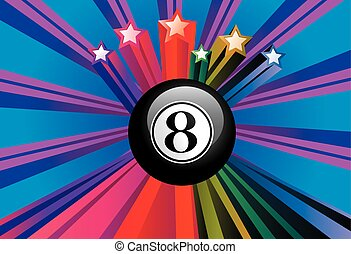 Black eight billiard ball on colorful background with rays.