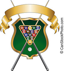Eight Ball Emblem Design Ribbon - Illustration of a pool or...